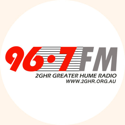 96.7FM 2GHR Greater Hume Radio logo designed by Dominic Greene.