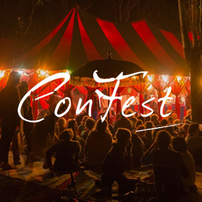 Preview and design of the Australian ConFest festival website.